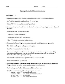 Apostrophe Rules, Review Worksheet, and Answer Key
