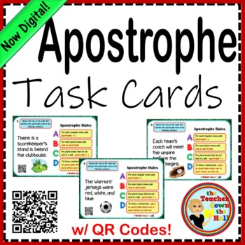 Apostrophe Rules Task Cards - 24 Cards w/ QR Codes!