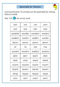 Apostrophe for Contraction Differentiated Worksheets