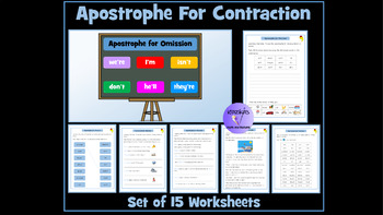 Apostrophe for Omission Differentiated Worksheets