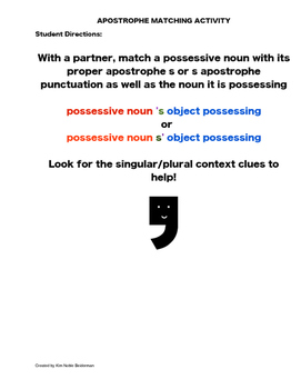 Apostrophe for Possessive Nouns Matching Activity