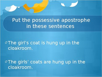 Apostrophe to show possession and for contraction