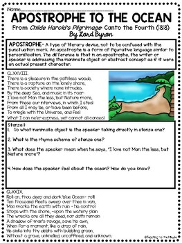 Apostrophe to the Ocean Reading Guide, Comprehension Questions, Lord Byron