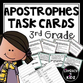 Apostrophes Task Cards (2 Sets!)  for Third Graders