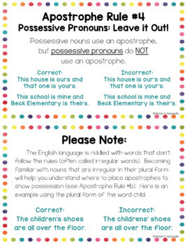 Apostrophes Anchor Charts and Task Cards