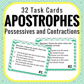 Apostrophes - Contractions & Possessive nouns - 32 Task Cards