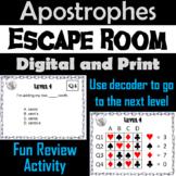 Apostrophes: Grammar Escape Room - ELA