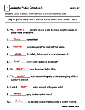 Apostrophes Practice: Contractions