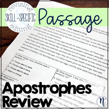 Apostrophes Review: Skill-Specific Revising and Editing Passage