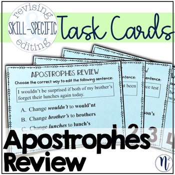 Apostrophes Review: Skill-Specific Revising and Editing Task Cards