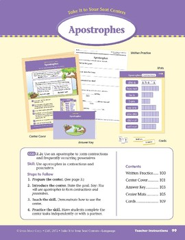 Apostrophes (Take It to Your Seat Centers: Common Core Language)