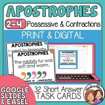Contractions and Possessives Task Cards - with apostrophe practice