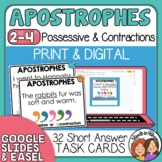 Contractions and Possessives Task Cards with apostrophe practice