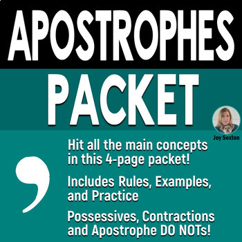 Apostrophes Worksheets in a Complete Packet
