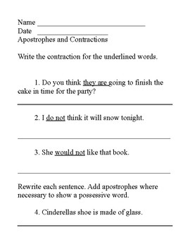 Apostrophes and contractions review 2