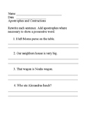 Apostrophes and contractions review