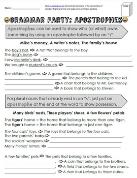 Apostrophes (contractions and possessive nouns) Packet + Test