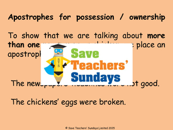 Apostrophes for possession/ownership (singular & plural) PowerPoint & Worksheet