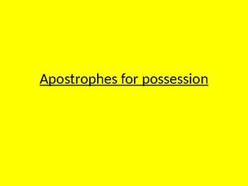 Apostrophes of possession
