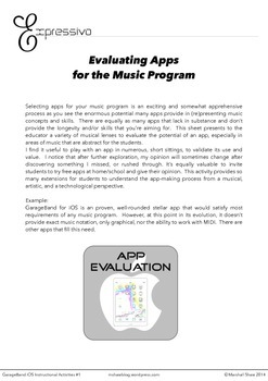 App Evaluation for the Music Program