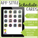 App Style Schedule Cards (Editable) Chevron and Chalkboard Theme