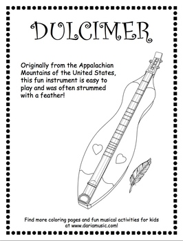 Appalachian Dulcimer Free Coloring Page By World Music With Daria