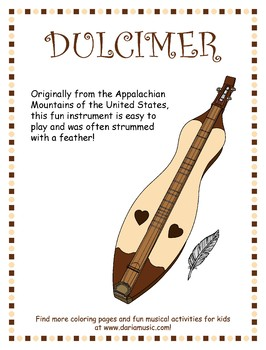 Appalachian Dulcimer Poster And Coloring Page