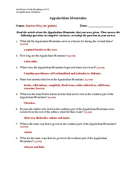 Appalachian Mountains Article (Reading Level 1) Comprehension Worksheet