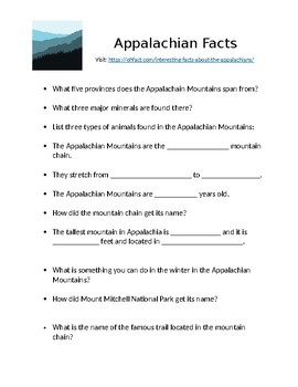 Appalachian Webquest