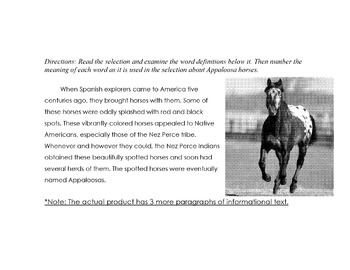 Animal:Appaloosa Horses of Nez Perce +10 Questions Definitions MULTIPLE MEANINGS