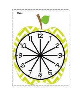 """Appealing Apple"" Green Chevron Partner Clock"