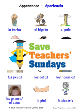 Appearance in Spanish Worksheets, Games, Activities and Flash Cards
