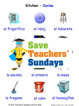 Kitchen in Spanish Worksheets, Games, Activities and Flash Cards (with audio)