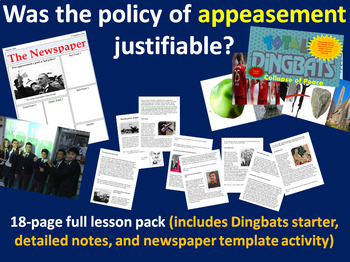 Appeasement - 18-page full lesson (starter, detailed notes, newspaper activity)