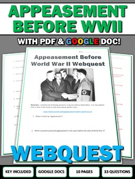 Appeasement Before World War II - Webquest with Key (Google Included)