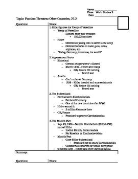 Appeasement and Hitler - 27.2 Cornell Notes - World War II