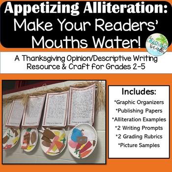 Appetizing Alliteration: Tasty Thanksgiving Menus Writing & Craftivity