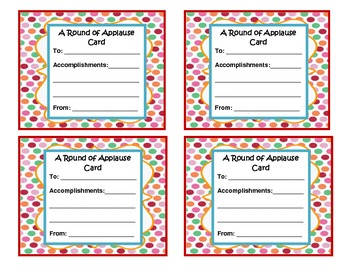 Applause Cards ~ Recognition Cards