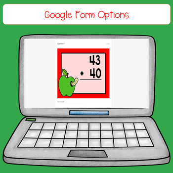 Apple 2 Digit, No Regrouping Addition Task Cards