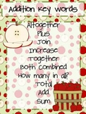 Apple A Day Addition & Subtraction Math Key Words
