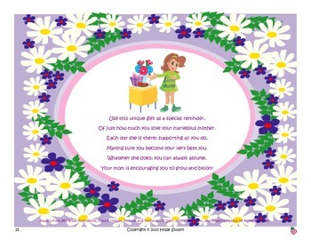 Adorable Adjectives-My Marvelous Mom Helps Me Bloom! Mother's Day Gift Idea