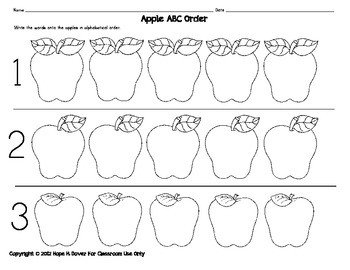 Apple ABC Order Literacy-Word Work Center