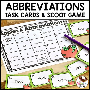 Apple Abbreviations Scoot Game & Sorting Center