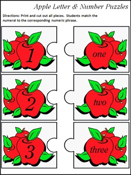 Apple Activities: Apple Letter & Number Puzzles Activity
