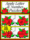 Apple Activities: Apple Letter & Number Puzzles Activity - Color Version