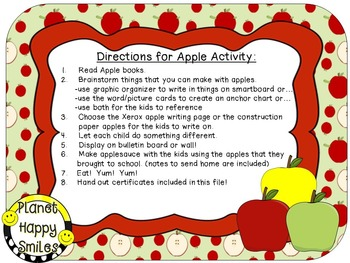 Apple Activity ~ Apple Writing (editable)