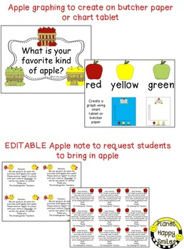 Apple Activity ~ Graphing Apples + EDITABLE notes