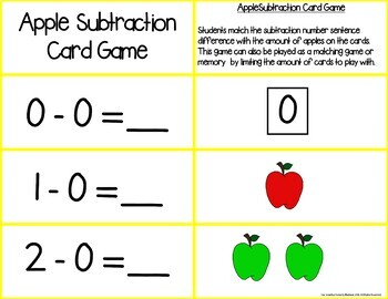 Apple Add & Subtract Number Sentence Match Games