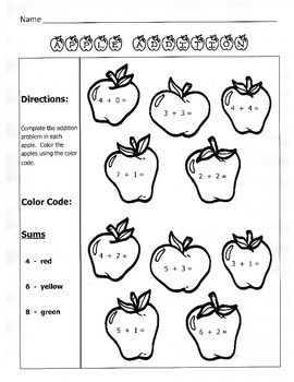 apple addition fall math worksheet 1st grade - Fall Worksheets For First Grade