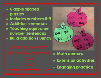 Apple Addition Number Puzzles